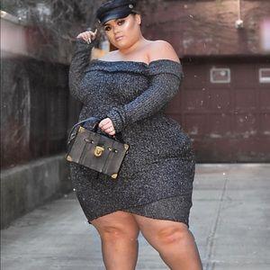 Dresses & Skirts - Grey off shoulder sweater dress